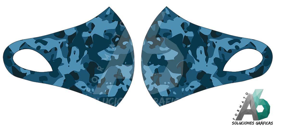 Mascarilla de camuflaje azul