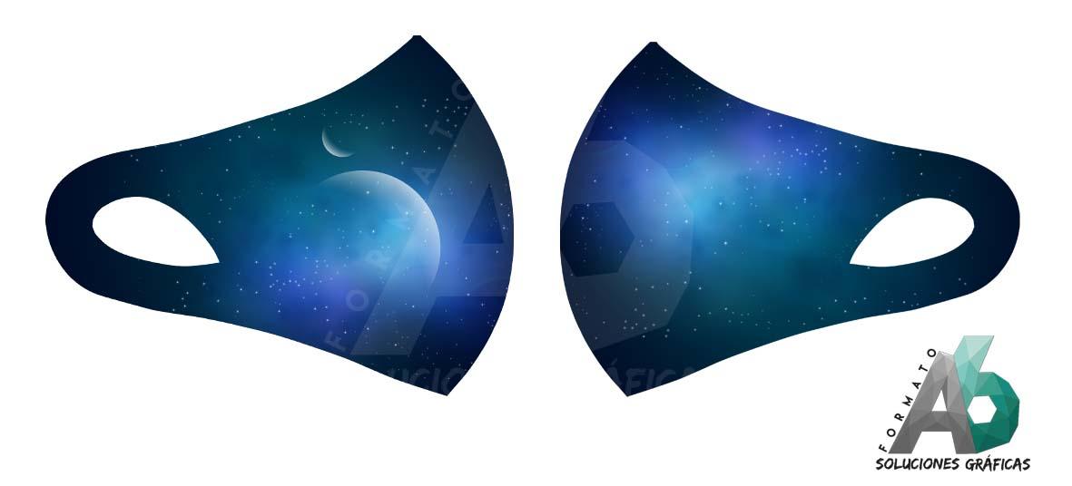 Mascarilla del espacio azul
