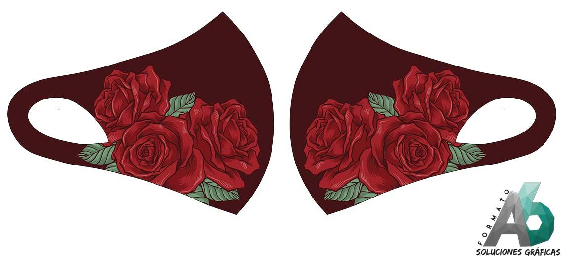 Mascarilla de flor rosa con fondo rojo