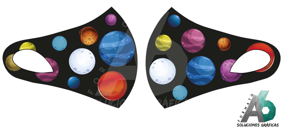 Mascarilla infantil de planetas